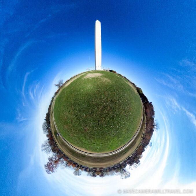 Tiny Planet photo of Washington DC of the Washington Monument