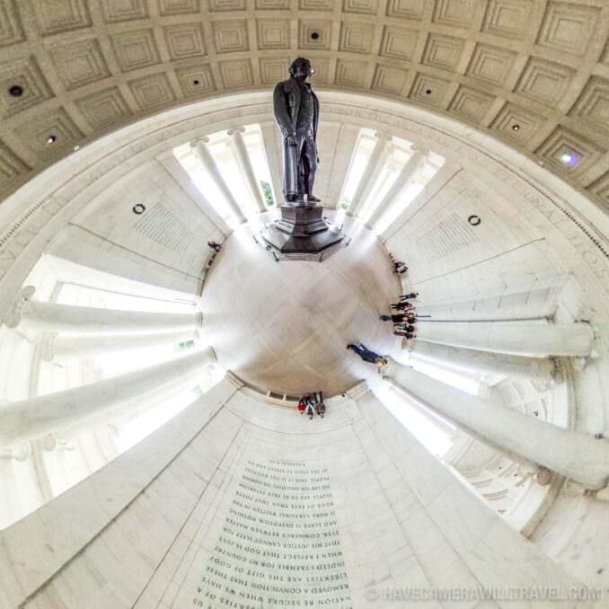 Tiny Planet photo of Washington DC inside the Jefferson Memorial