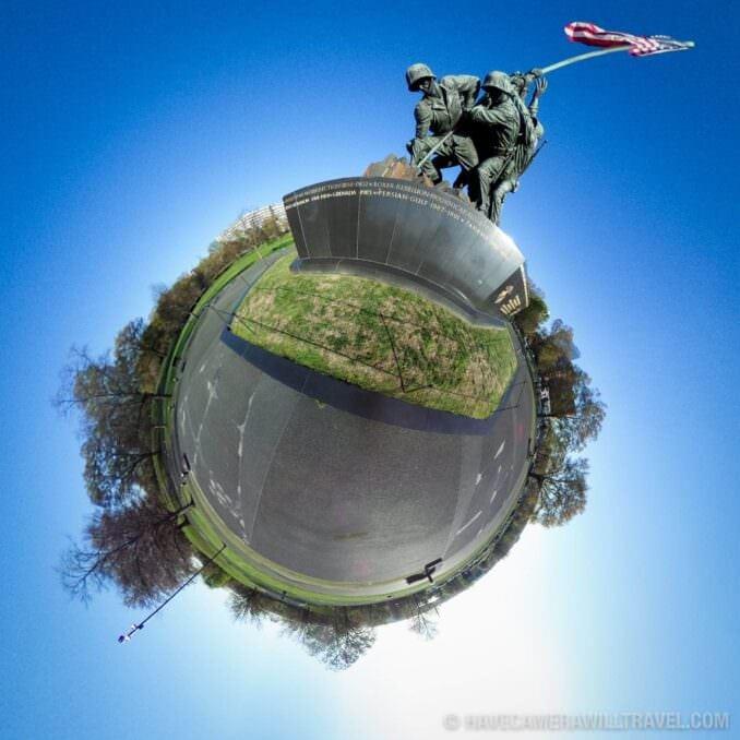 Tiny Planet photo of Washington DC The Iwo Jima Memorial