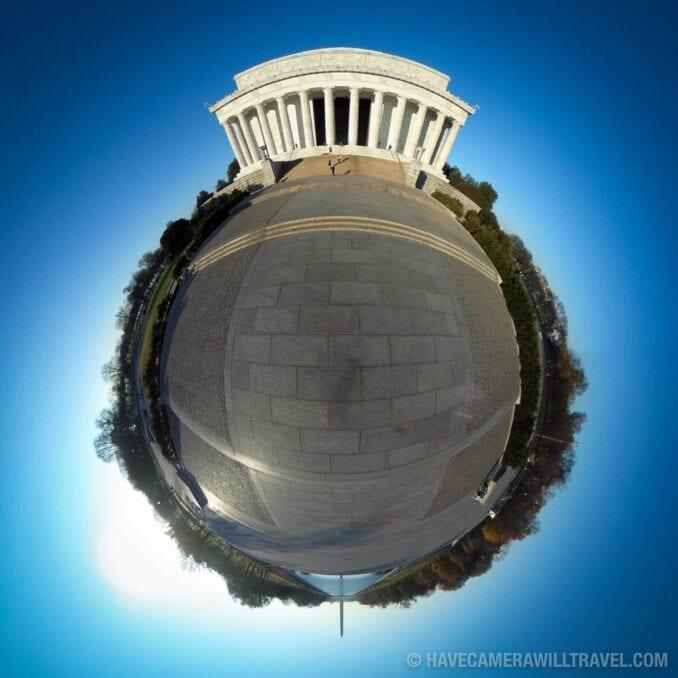 Tiny Planet photo of Washington DC Lincoln Memorial