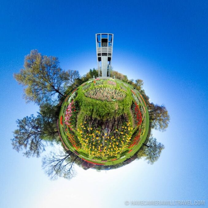 Tiny Planet photo of Washington DC of the Netherlands Carillon and its tulip garden