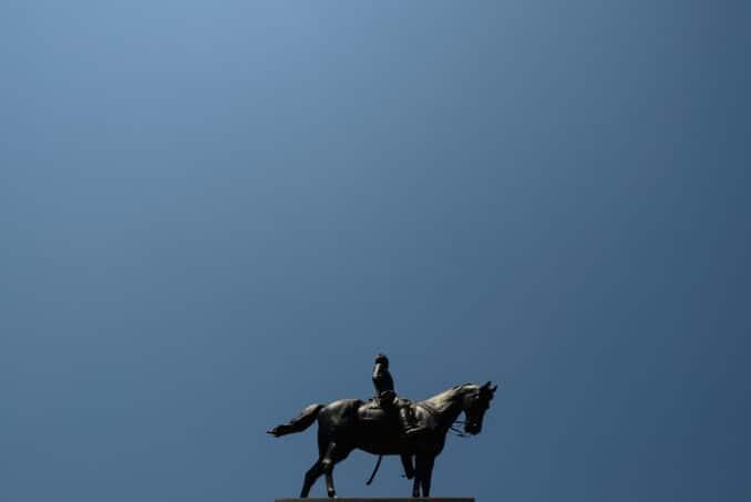 184-162817713 General Sherman Monument Against Blue Sky.