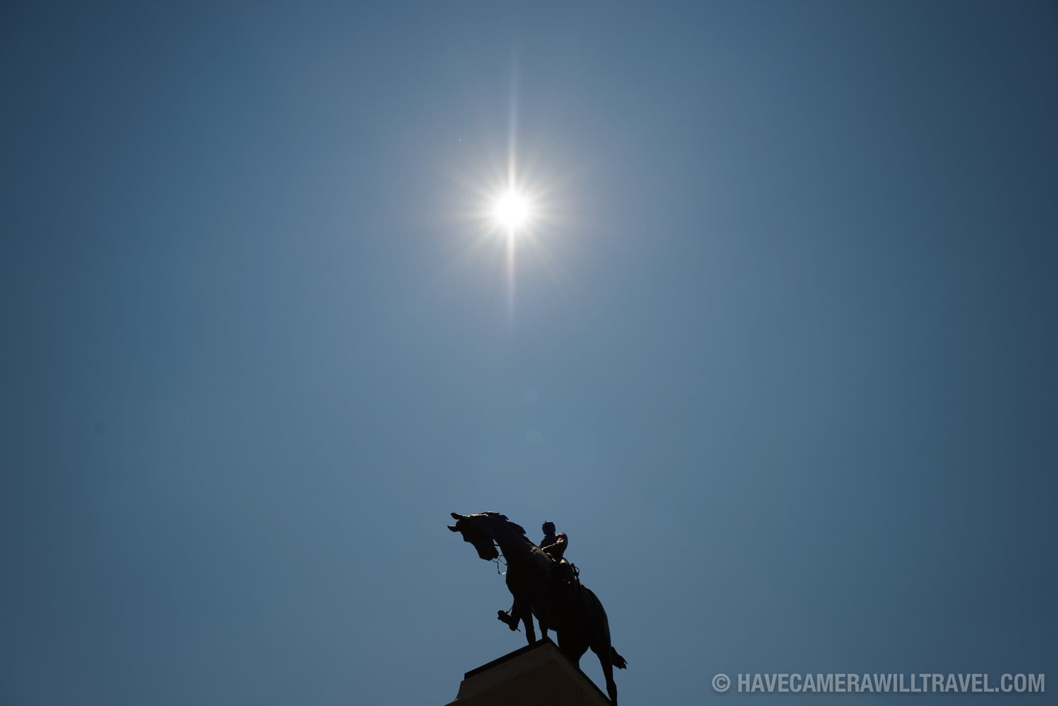 184-162848715 General Sherman Monument with Sun and Blue Sky from Front Right.