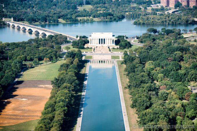 Aerial View of the Lincoln Memorial, Reflecting Pool, and Arlington Memorial Bridge
