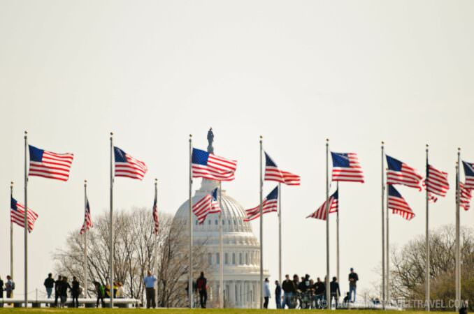 American flags US Capitol Dome