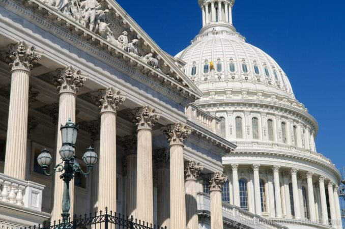 Architectural detail of the House of Representatives and US Capitol Dome