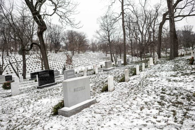 Arlington National Cemetery After Recent Snow Headstones