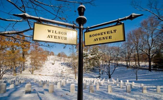Arlington National Cemetery in the snow