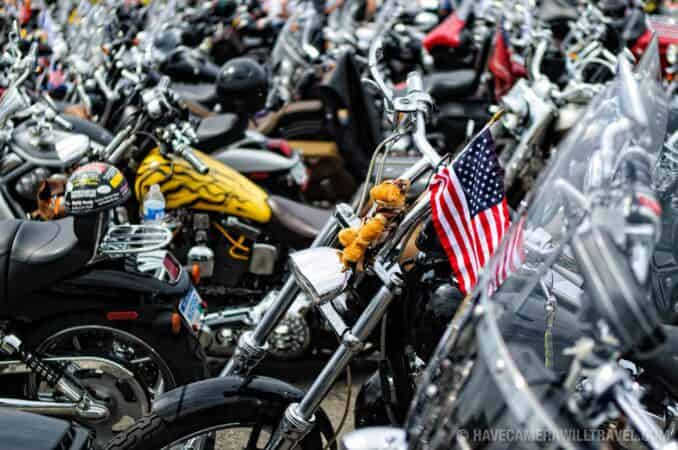Bikes parked before the Rolling Thunder Motorcycle Rally