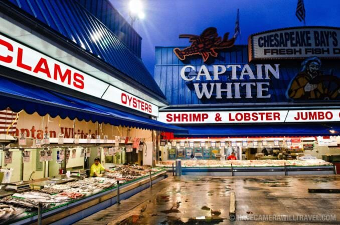 Captain White's at the Maine Avenue Fish Market at night