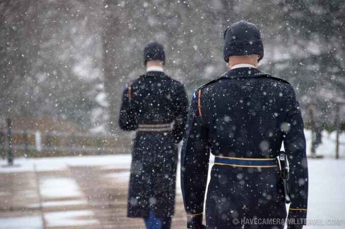 Changing of the Guard in the Snow at Arlington National Cemetery