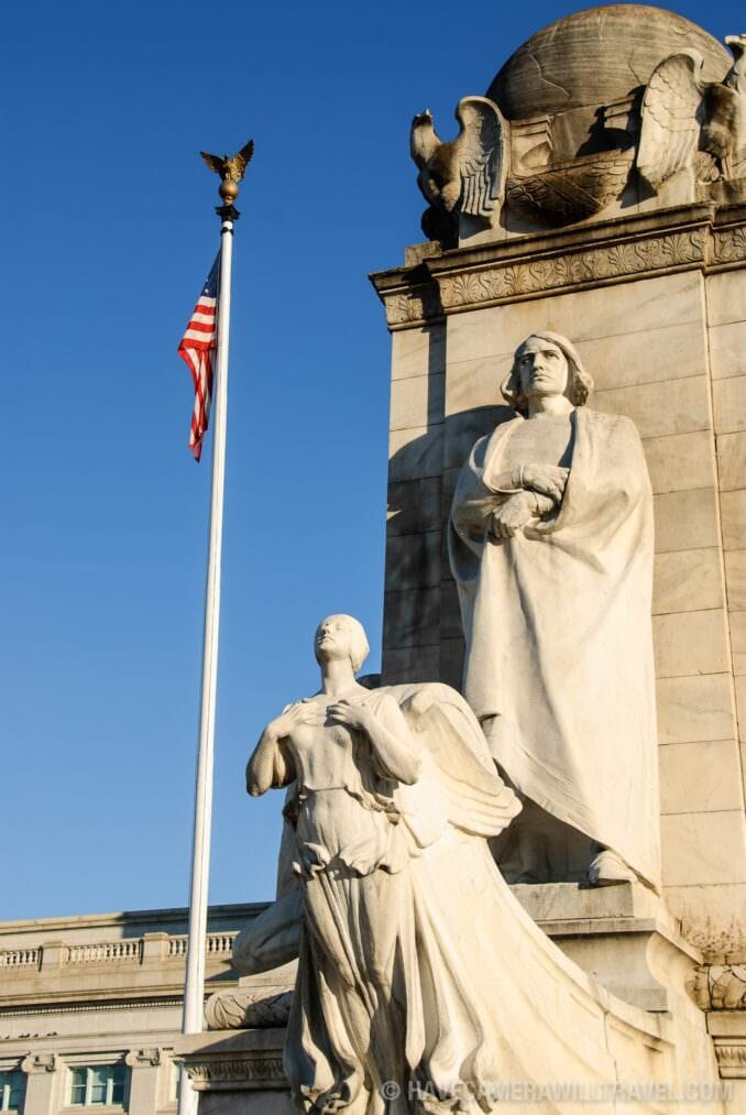 Christopher Columbus Statue and Discovery at the Columbus Fountain Union Station Washington DC