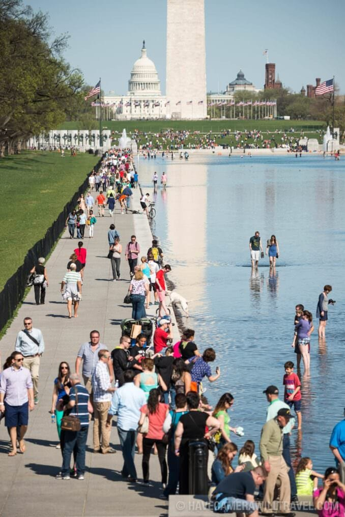 Crowds in the Reflecting Pool on a Hot Day in Washington DC