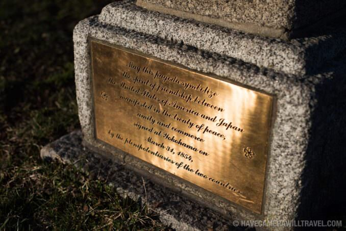 Dedication Plaque of the Japanase Pagoda at the Tidal Basin in Washington DC