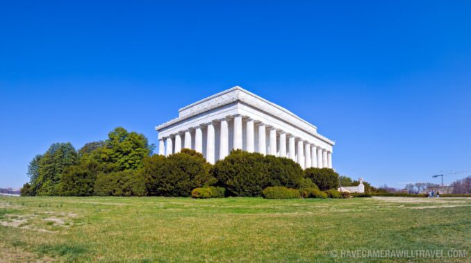 Exterior of the Lincoln Memorial, Washington DC, with a clear bl
