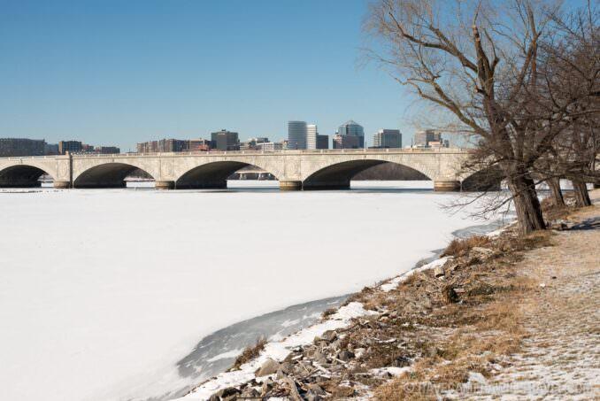 Frozen Potomac Covered in Snow with Arlington Memorial Bridge