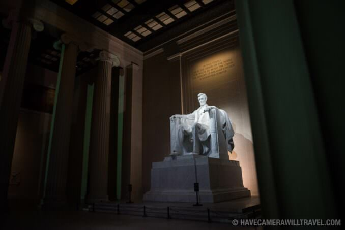 Interior of the Lincoln Memorial at Night