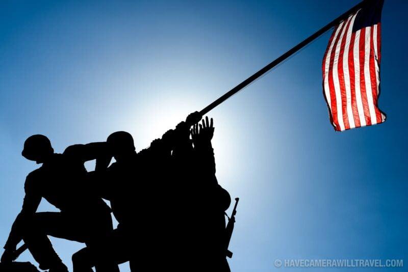 Iwo Jima Memorial in Arlington VA Silhouette