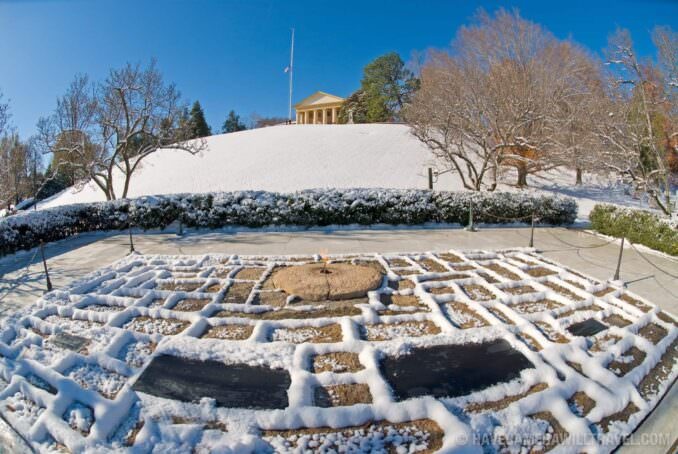 John F. Kennedy grave site at Arlington National Cemetery in the snow