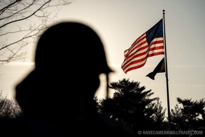 Korean War Memorial and American Flag Backlighting