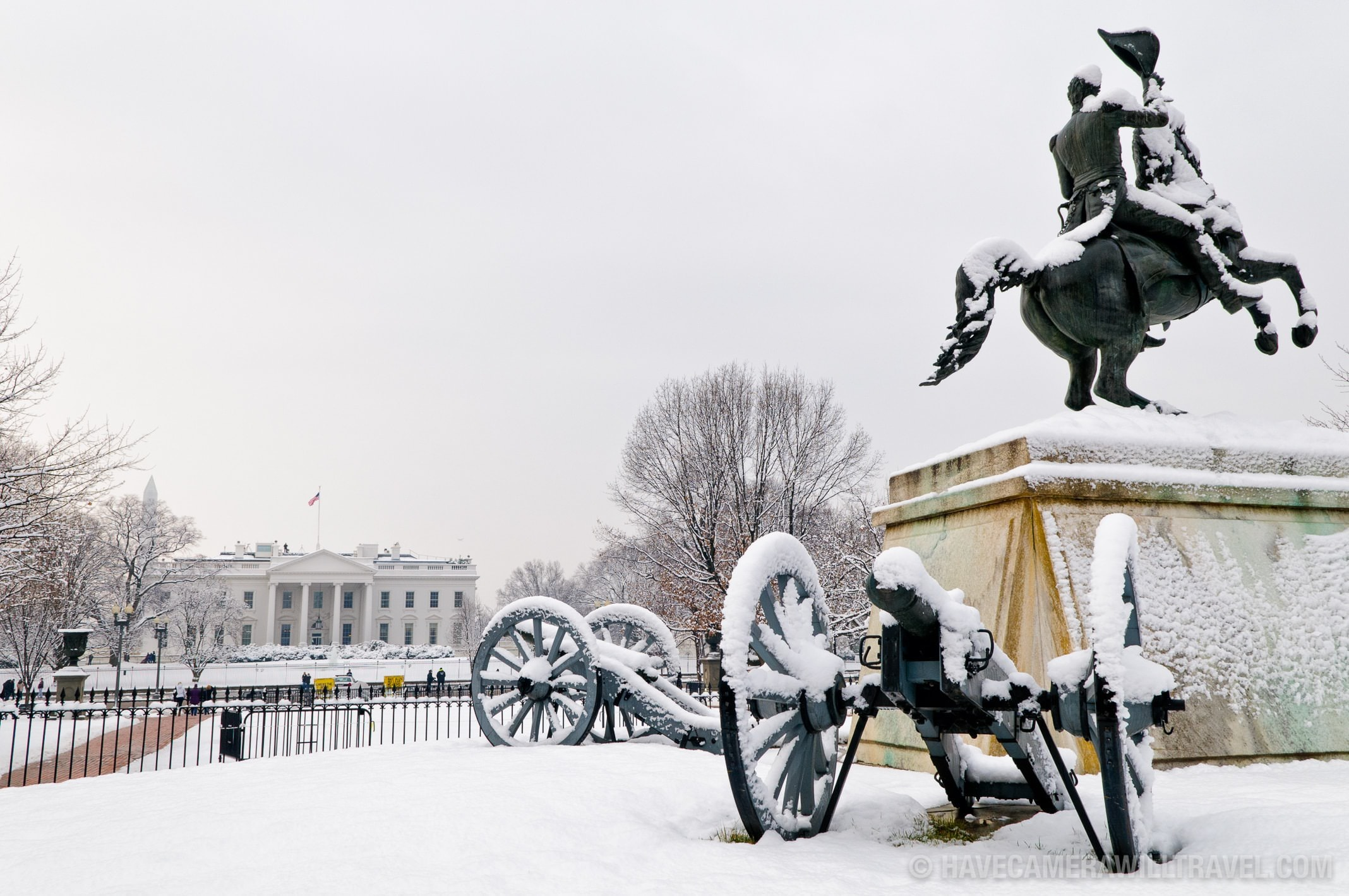 Lafayette Park and the White House in Snow