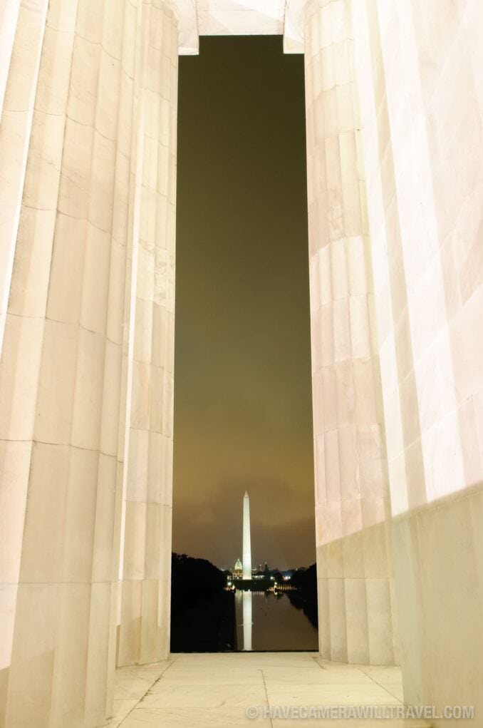 Lincoln Memorial Reflecting Pool and Washington Monument at night