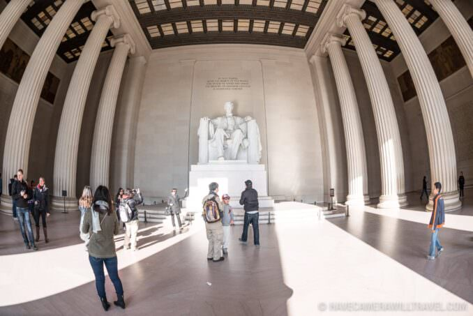 Lincoln Memorial Statue Tourists Wide-angle
