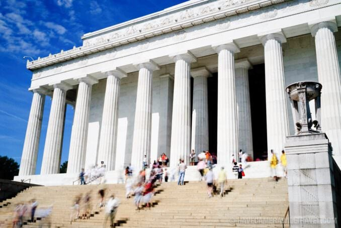 Lincoln Memorial with motion blur tourists