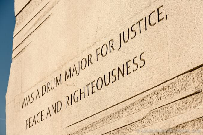 MLK Memorial Washington DC Drum Major for Justice Inscription