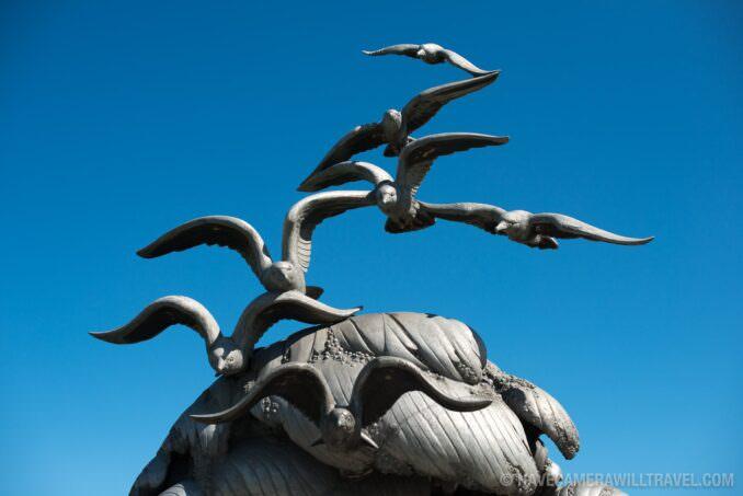 Navy-Marine Memorial in Arlington, VA, Seagulls Against Blue Sky