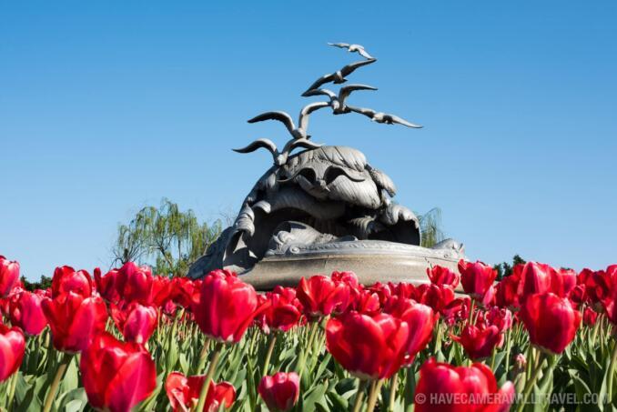 Navy-Merchant Marine Memorial with Red Tulips