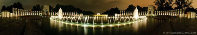 Panorama World War II Memorial and Lincoln Memorial at night