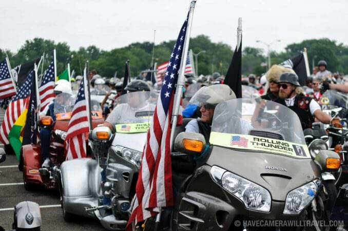 Participants in the Rolling Thunder Motorcycle Rally