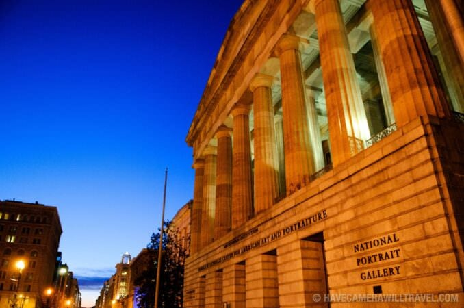 Photo of Front of Smithsonian American Art and Portraiture Museum at dusk