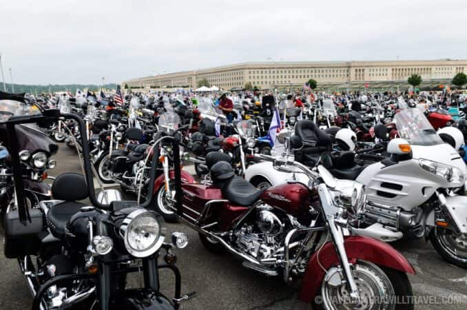 Rolling Thunder Motorcycle Rally Bikes Parked with Pentagon