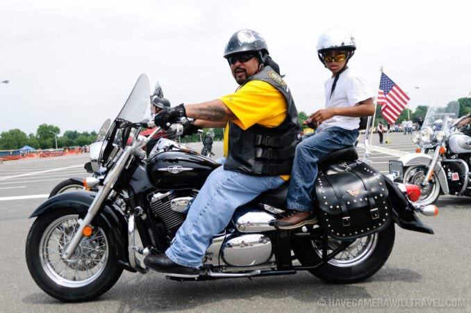 Rolling Thunder Motorcycle Rally Rider and Child