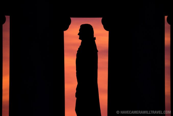 Silhouette of the Statue of Thomas Jefferson at the Jefferson Memorial