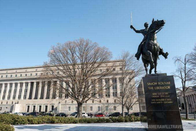 Simon Bolivar Statue with Interior Department Building