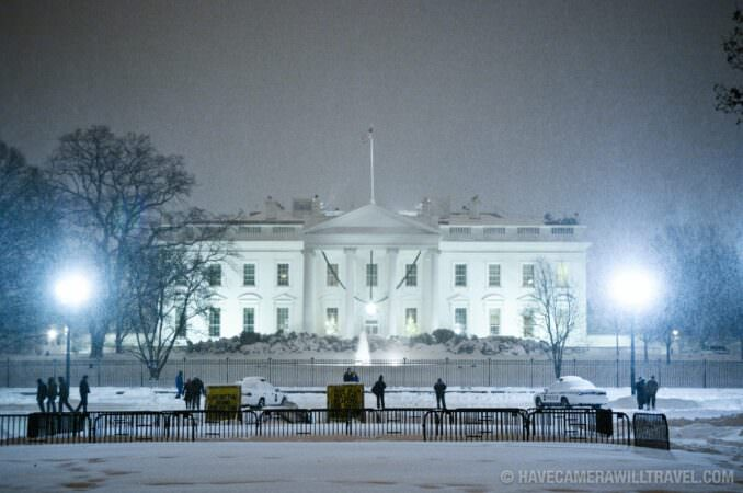 Snowstorm at the White House at night
