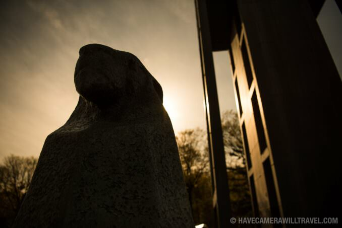Silhouette of one of the sphinxes at the base of Netherlands Carillon in Arlingon, Virginia