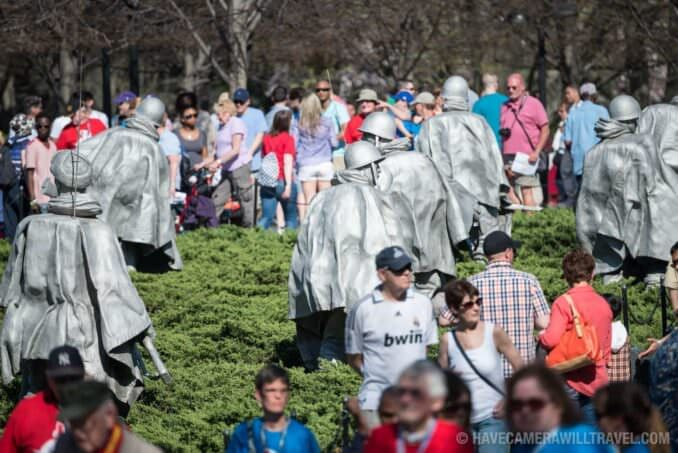 Tourists at the Korean War Veterans Memorial in Washington DC
