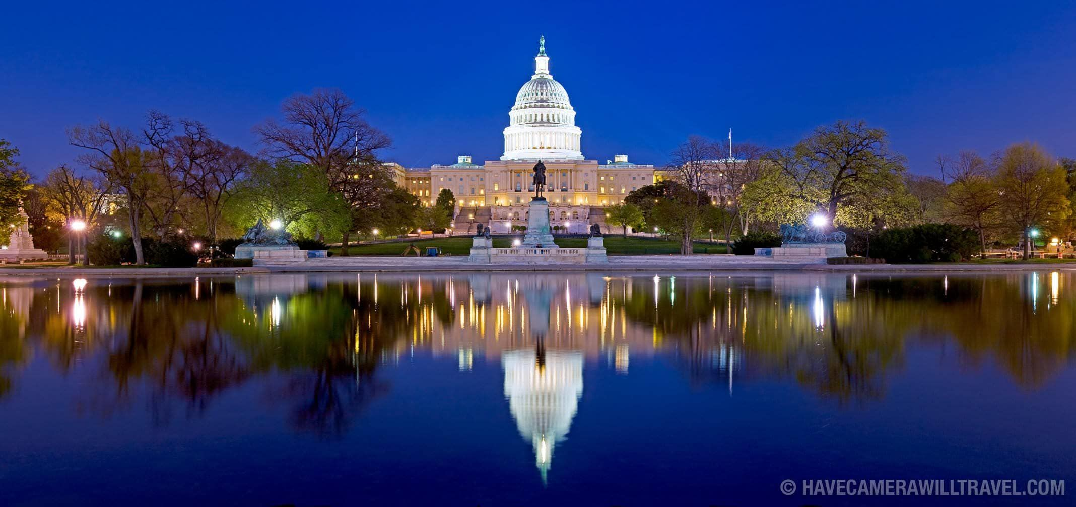 United States Capitol building with reflection on water