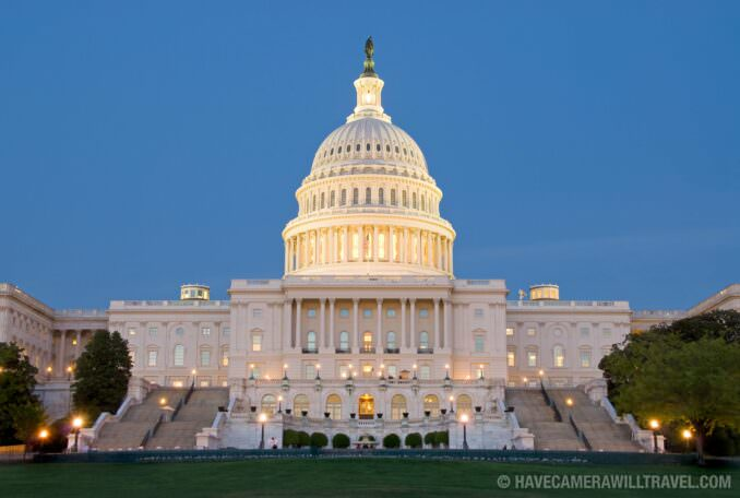 US Capitol Building at dusk with blue sky