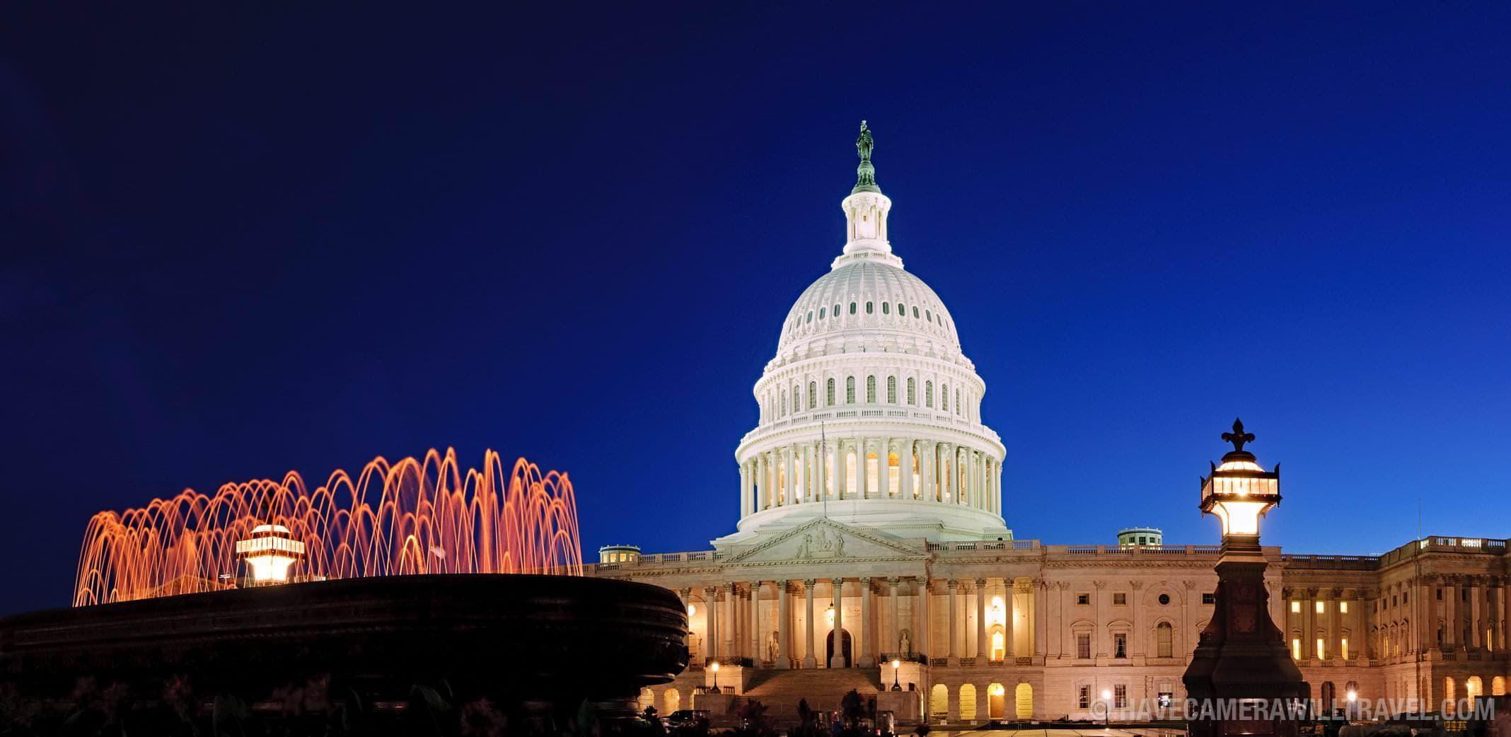 US Capitol Building at night panorama