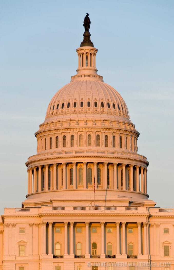 US Capitol Building illuminated by setting sun