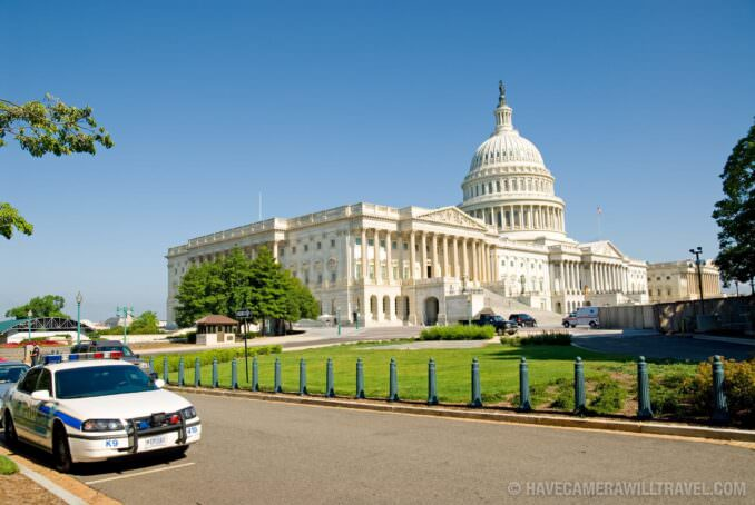 US Capitol Building with police car