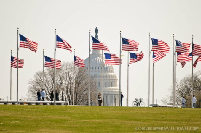 US Capitol Dome American flags