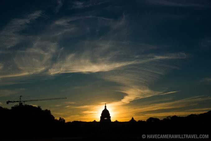 US Capitol Dome with Rising Sun