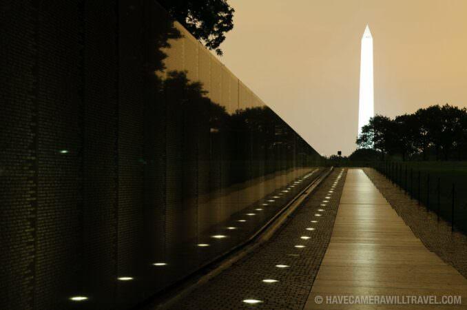 Vietnam Veterans Memorial at night