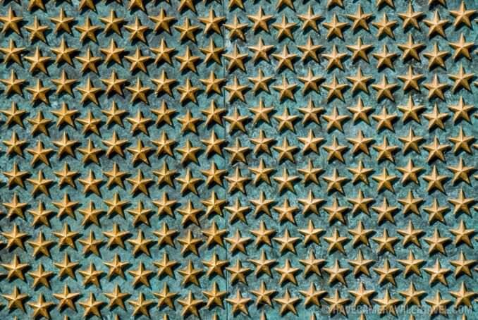 Wall of stars at World War II memorial